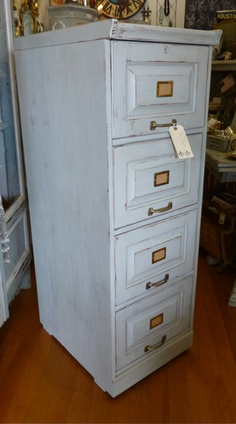 Painted Oak Vertical File Cabinet