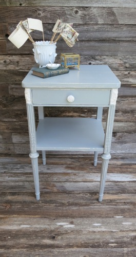 Vintage french cottage gray tall nightstand for Hathaway furniture new york