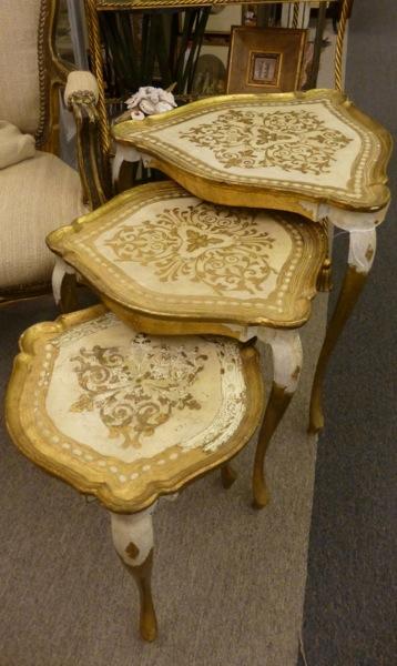 Antique Wood Nesting Tables Set Of 3 ~ Florentine triangular nesting table set