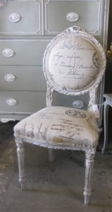 French Chair With Calligraphy Upholstery. Fabulous ...
