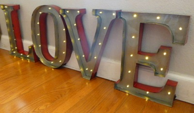 Lighted Metal Initials L O V E Industrial Lit Letters