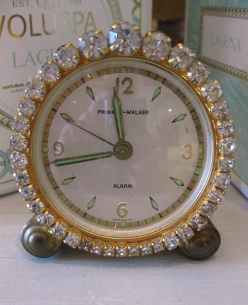 Vintage Rhinestone Wind-Up Clock