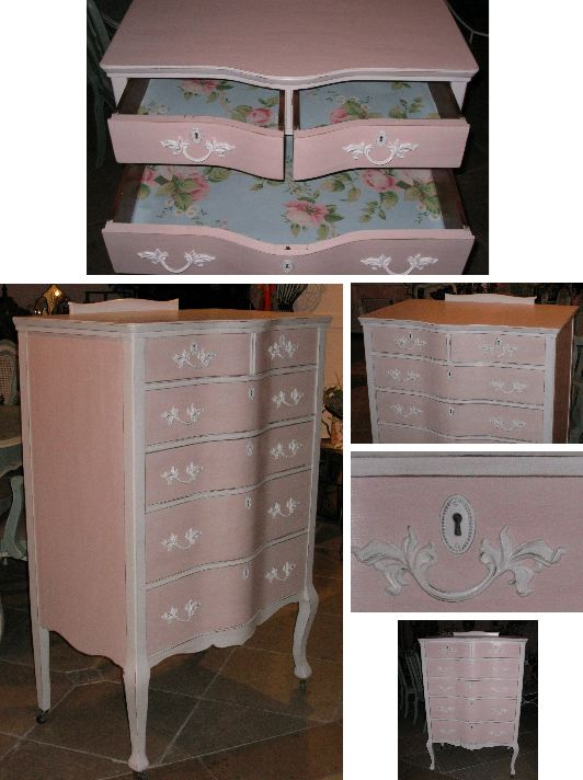 Chic Pink And White Tall Dresser Classic