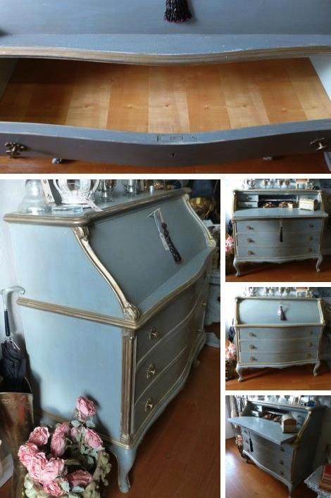 Vintage French Drop Front Desk