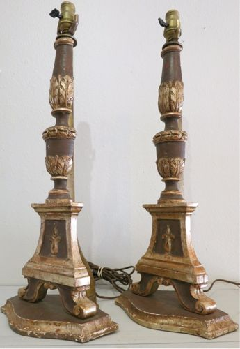 French 18th Century Carved Wood Candlestick Lamps