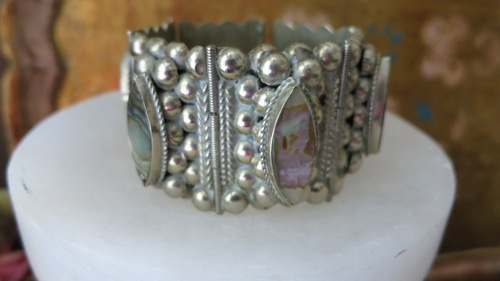 Vintage Mexico Chunky Abalone Silver Bracelet