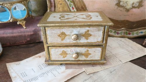 Vintage Florentine 2 Drawer Jewelry Box Cream from Italy