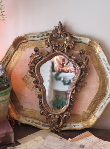 Vintage Petite Rococo Ornate Carved Gold Wood Mirror