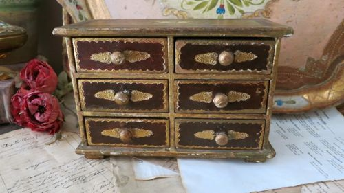 Vintage 6 Drawer Italian Gold Florentine Jewelry Box - Made in Italy