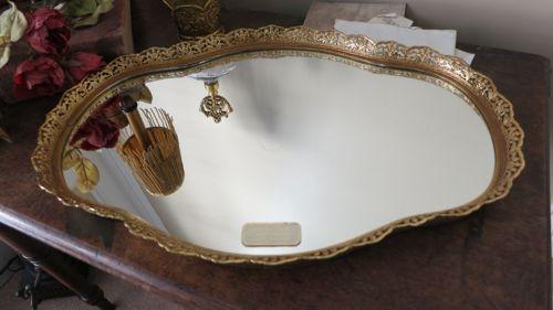 Vintage Gold Ormolu Matson Era Mirrored Vanity Perfume Tray