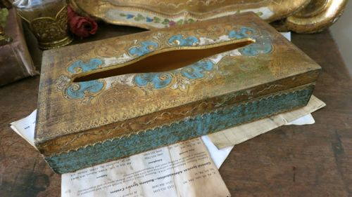 Vintage Blue & Gold Florentine Tissue Box
