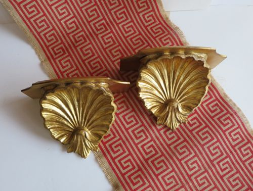 Pair Gold Italian Florentine Shell Wall Shelf Sconce