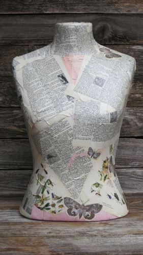 Vintage Tabletop Mannequin Decoupage Dress Form Store Display