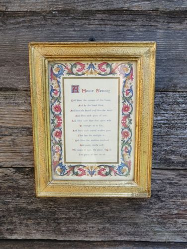 Vintage Florentine Gold Frame HOUSE BLESSING Litho Great Housewarming Gift
