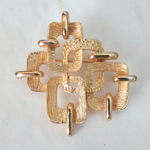 Vintage Signed CORO Brutalist Mid-Century Brushed Gold Geometric Brooch Pin