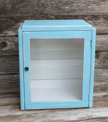 Vintage Turquoise Apothecary Medical Dental Cabinet Countertop Display Case