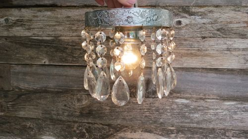 Beautiful Small Vintage Crystal Flush Mount Chandelier Single Bulb Light Fixture 6""