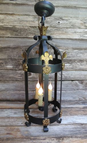 3 Light French Iron Chandelier Pendant Fixture