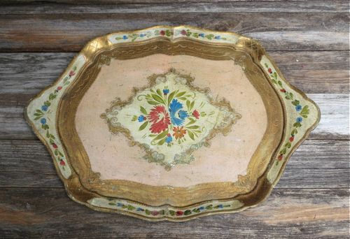 Vintage Large Italian Florentine Wood Tray Pink Gold Hand Painted Floral Design
