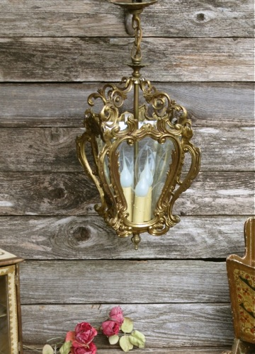 Antique Bronze French Rococo Lantern Chandelier Light Fixture