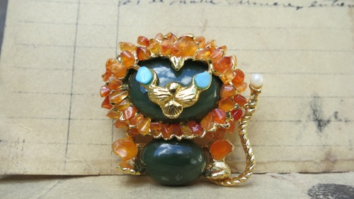 Vintage Swoboda Jade Lion Brooch Pin Carnelian, Turquoise, Gemstones