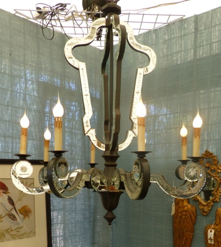 Beautiful Large Mirrored Iron Venetian Glass Chandelier