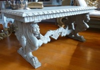 Vintage European Griffin Bench Table