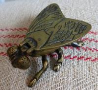 Solid Brass Fly Vesta Match Holder Box