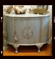 Painted Antique Demilune Cabinet