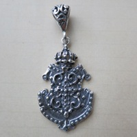 Sterling Shield & Crown English Pendant