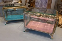 French Beveled Glass Jewelry Vitrine