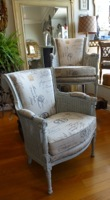 Pair Vintage French Caned Arm Chairs