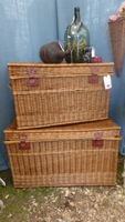 Vintage French Wicker Trunk