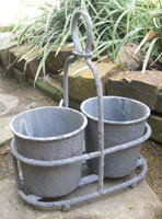 Galvanized Planters in Carrier