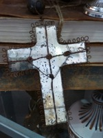 Rustic Mercury Glass Cross