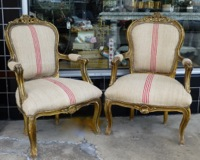 Pair Vintage French Arm Chairs