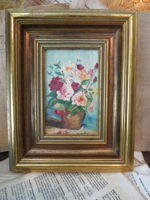 Vintage Small Floral Oil Painting Oil