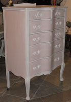 Chic Pink and White Tall Dresser