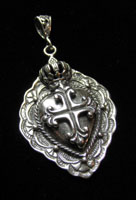 Sterling Crown and Cross Pendant