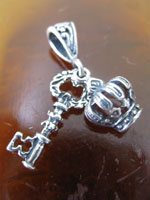 Sterling Key and Crown Pendant
