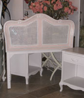 Chic Caned Pink & White Twin Headboard