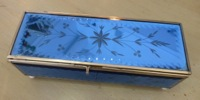 Vintage Etched Blue Mirrored Glass Box